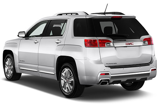 AUT 51 IZ0301 01 © Kimball Stock 2015 GMC Terrain FWD Denali 5-Door SUV 3/4 Rear View In Studio