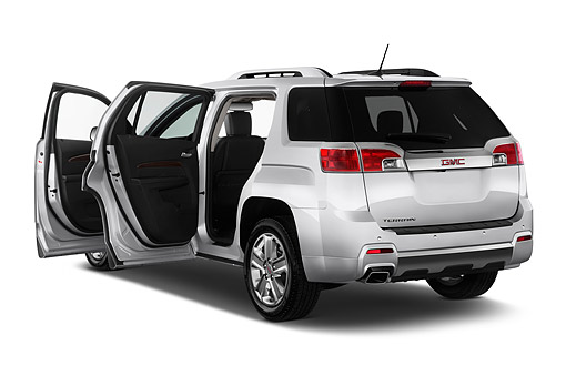 AUT 51 IZ0302 01 © Kimball Stock 2015 GMC Terrain FWD Denali 5-Door SUV 3/4 Rear View In Studio