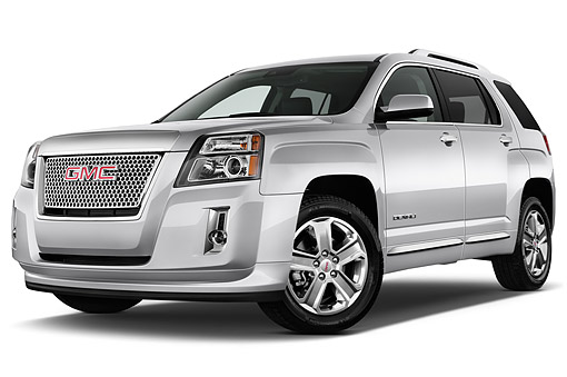 AUT 51 IZ0306 01 © Kimball Stock 2015 GMC Terrain FWD Denali 5-Door SUV Low Angle 3/4 Front View In Studio