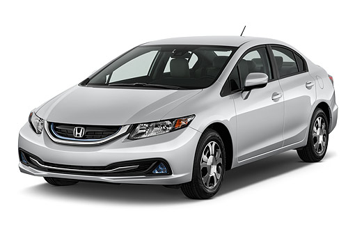 AUT 51 IZ0307 01 © Kimball Stock 2015 Honda Civic Hybrid CVT 4-Door Sedan 3/4 Front View In Studio