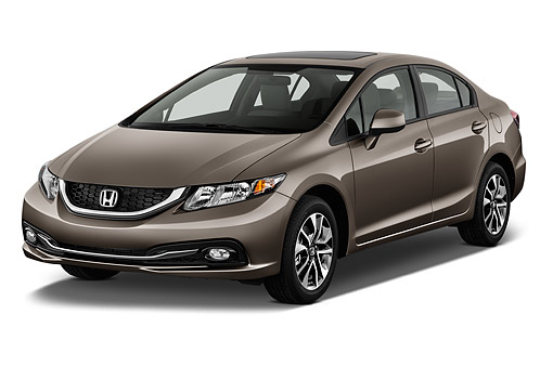 AUT 51 IZ0315 01 © Kimball Stock 2015 Honda Civic Sedan EX L Auto 4-Door 3/4 Front View In Studio