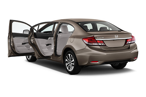 AUT 51 IZ0317 01 © Kimball Stock 2015 Honda Civic Sedan EX L Auto 4-Door 3/4 Rear View In Studio