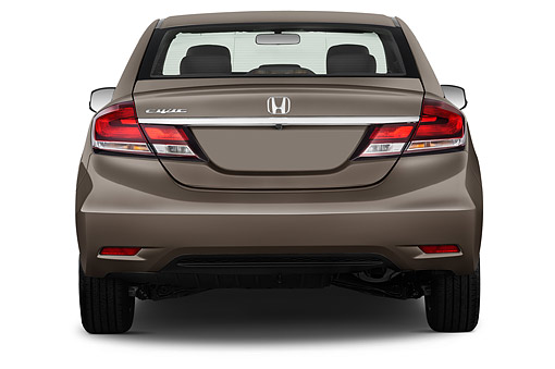AUT 51 IZ0319 01 © Kimball Stock 2015 Honda Civic Sedan EX L Auto 4-Door Rear View In Studio