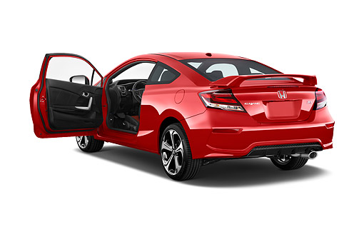 AUT 51 IZ0332 01 © Kimball Stock 2015 Honda Civic Si Coupe 2-Door 3/4 Rear View In Studio