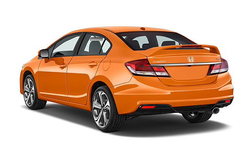 AUT 51 IZ0338 01 © Kimball Stock 2015 Honda Civic Si Sedan Manual Transmission 3/4 Rear View In Studio