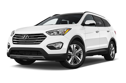 AUT 51 IZ0371 01 © Kimball Stock 2015 Hyundai Santa Fe GLS 5-Door SUV Low 3/4 Front View In Studio