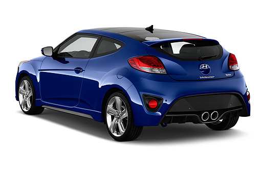 AUT 51 IZ0380 01 © Kimball Stock 2015 Hyundai Veloster 1.6 Turbo Auto With Shiftronic 3-Door Hatchback 3/4 Rear View In Studio