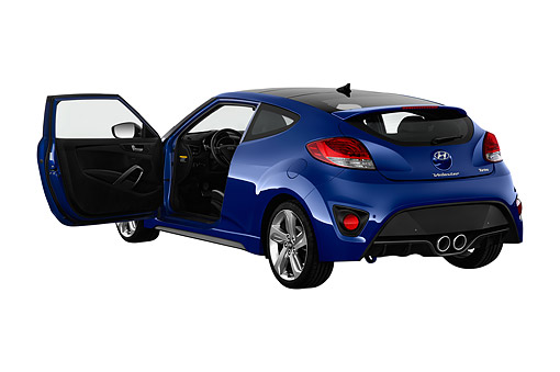 AUT 51 IZ0381 01 © Kimball Stock 2015 Hyundai Veloster 1.6 Turbo Auto With Shiftronic 3-Door Hatchback 3/4 Rear View In Studio