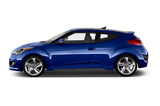 AUT 51 IZ0384 01 © Kimball Stock 2015 Hyundai Veloster 1.6 Turbo Auto With Shiftronic 3-Door Hatchback Profile View In Studio
