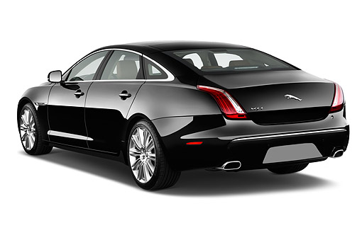 AUT 51 IZ0394 01 © Kimball Stock 2015 Jaguar XJ Series XJL Supercharged 4-Door Sedan 3/4 Rear View In Studio