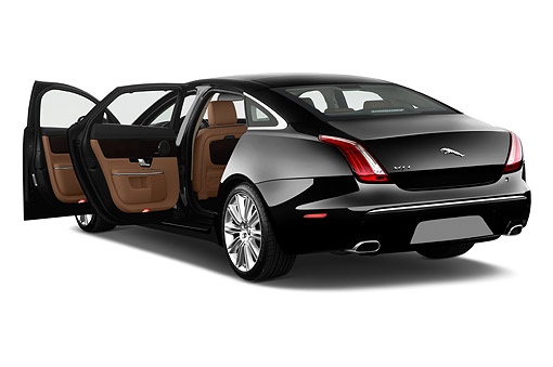 AUT 51 IZ0395 01 © Kimball Stock 2015 Jaguar XJ Series XJL Supercharged 4-Door Sedan 3/4 Rear View In Studio