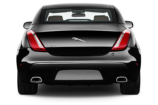 AUT 51 IZ0397 01 © Kimball Stock 2015 Jaguar XJ Series XJL Supercharged 4-Door Sedan Rear View In Studio