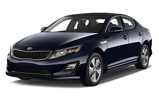 AUT 51 IZ0400 01 © Kimball Stock 2015 Kia Optima EX Hybrid 4-Door Sedan 3/4 Front View In Studio