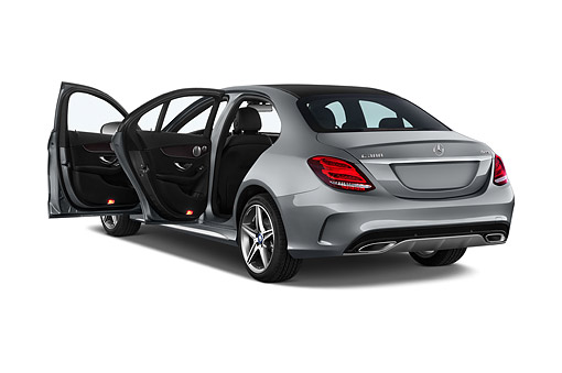 AUT 51 IZ0458 01 © Kimball Stock 2015 Mercedes Benz C-Class C300 Sport Sedan 4-Door 3/4 Rear View In Studio