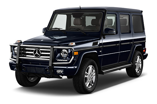 AUT 51 IZ0470 01 © Kimball Stock 2015 Mercedes Benz G-Class G550 5-Door SUV 3/4 Front View In Studio