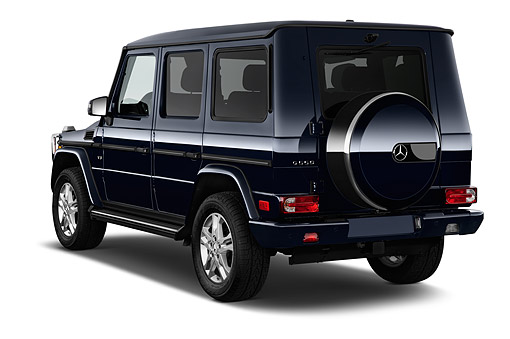 AUT 51 IZ0471 01 © Kimball Stock 2015 Mercedes Benz G-Class G550 5-Door SUV 3/4 Rear View In Studio