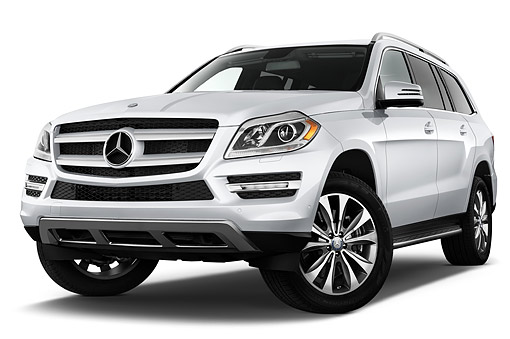 AUT 51 IZ0483 01 © Kimball Stock 2015 Mercedes Benz GL-Class GL450 5-Door SUV 3/4 Front View In Studio