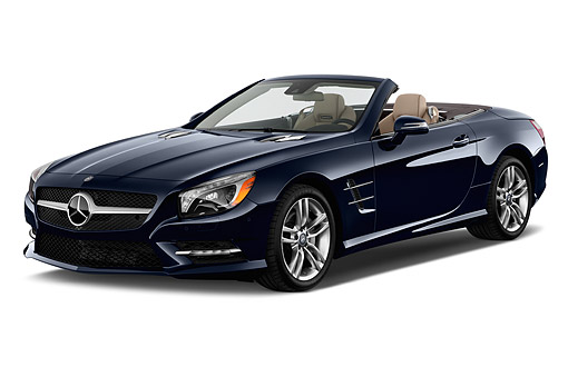 AUT 51 IZ0498 01 © Kimball Stock 2015 Mercedes Benz SL-Class SL550 2-Door Roadster 3/4 Front View In Studio