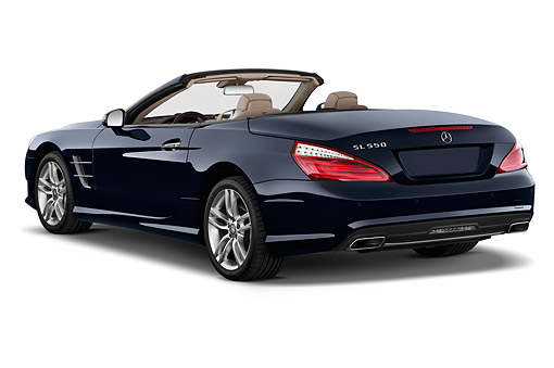 AUT 51 IZ0499 01 © Kimball Stock 2015 Mercedes Benz SL-Class SL550 2-Door Roadster 3/4 Rear View In Studio