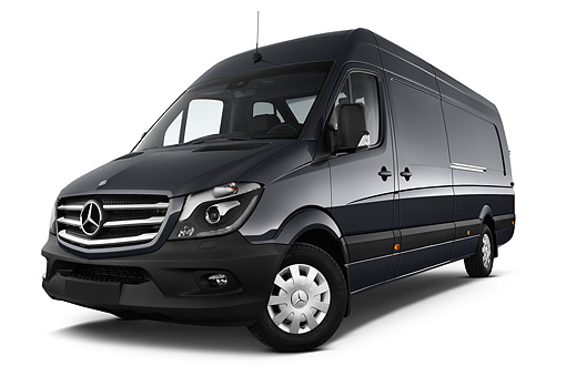 AUT 51 IZ0511 01 © Kimball Stock 2015 Mercedes Benz Sprinter Cargo Van 2500 170 High Roof 5-Door 3/4 Front View In Studio