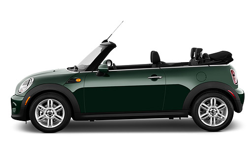AUT 51 IZ0524 01 © Kimball Stock 2015 Mini Cooper Base 2-Door Convertible Profile View In Studio