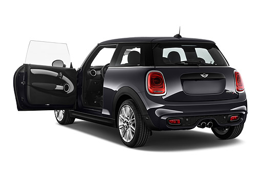 AUT 51 IZ0528 01 © Kimball Stock 2015 Mini Cooper Hardtop S 3-Door Hatchback 3/4 Rear View In Studio