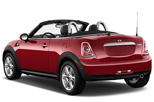 AUT 51 IZ0534 01 © Kimball Stock 2015 Mini Cooper Roadster 2-Door Convertible 3/4 Rear View In Studio