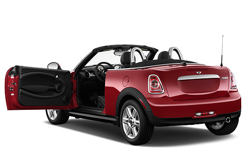 AUT 51 IZ0535 01 © Kimball Stock 2015 Mini Cooper Roadster 2-Door Convertible 3/4 Rear View In Studio