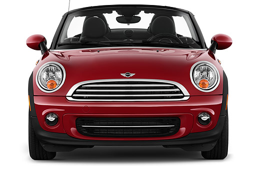 AUT 51 IZ0536 01 © Kimball Stock 2015 Mini Cooper Roadster 2-Door Convertible Front View In Studio