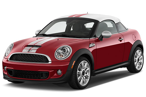 AUT 51 IZ0540 01 © Kimball Stock 2015 Mini Cooper S 2-Door Coupe 3/4 Front View In Studio