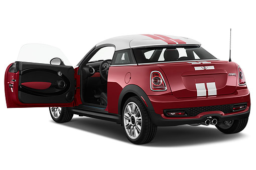 AUT 51 IZ0542 01 © Kimball Stock 2015 Mini Cooper S 2-Door Coupe 3/4 Rear View In Studio