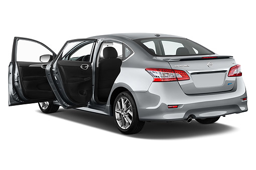 AUT 51 IZ0603 01 © Kimball Stock 2015 Nissan Sentra 1.8 SR CVT 4-Door Sedan 3/4 Rear View In Studio