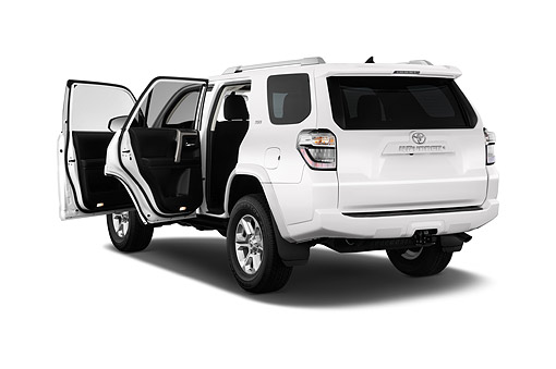 AUT 51 IZ0656 01 © Kimball Stock 2015 Toyota 4-Runner SR5 4x4 V6 5-Door SUV 3/4 Rear View In Studio