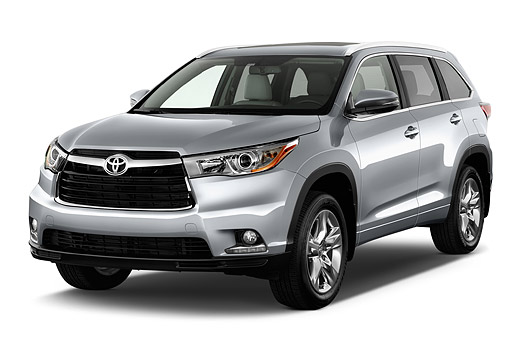 AUT 51 IZ0689 01 © Kimball Stock 2015 Toyota Highlander Limited 5-Door SUV 3/4 Front View In Studio