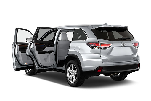 AUT 51 IZ0691 01 © Kimball Stock 2015 Toyota Highlander Limited 5-Door SUV 3/4 Rear View In Studio