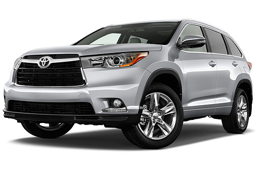 AUT 51 IZ0695 01 © Kimball Stock 2015 Toyota Highlander Limited 5-Door SUV Low 3/4 Front View In Studio