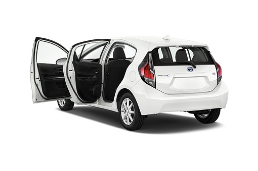 AUT 51 IZ0705 01 © Kimball Stock 2015 Toyota Prius C Three 5-Door Hatchback 3/4 Rear View In Studio