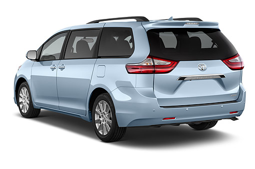 AUT 51 IZ0731 01 © Kimball Stock 2015 Toyota Sienna Limited V6 8 Passenger 5-Door Mini Van 3/4 Rear View In Studio