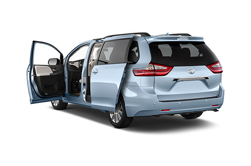 AUT 51 IZ0732 01 © Kimball Stock 2015 Toyota Sienna Limited V6 8 Passenger 5-Door Mini Van 3/4 Rear View In Studio