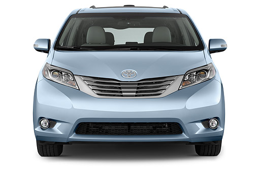 AUT 51 IZ0733 01 © Kimball Stock 2015 Toyota Sienna Limited V6 8 Passenger 5-Door Mini Van Front View In Studio
