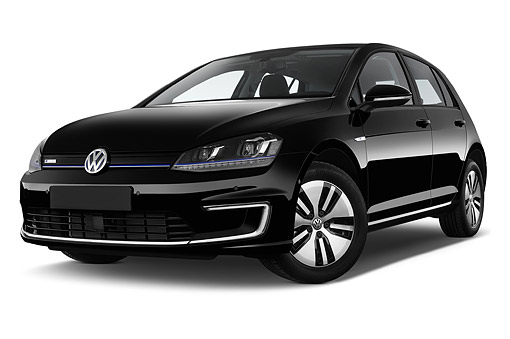 AUT 51 IZ0771 01 © Kimball Stock 2015 Volkswagen Golf E-Golf Sel Premium 5-Door Hatchback Low 3/4 Front View In Studio
