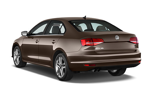 AUT 51 IZ0780 01 © Kimball Stock 2015 Volkswagen Jetta 2.5l Sel Auto 4-Door Sedan 3/4  Rear View In Studio