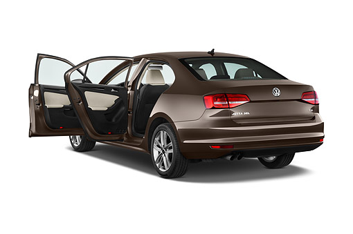AUT 51 IZ0781 01 © Kimball Stock 2015 Volkswagen Jetta 2.5l Sel Auto 4-Door Sedan 3/4  Rear View In Studio