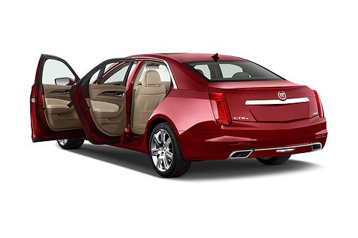 AUT 51 IZ2504 01 © Kimball Stock 2015 Cadillac CTS 3.0 RWD Luxury Collection 4-Door Sedan 3/4 Rear View In Studio