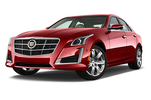 AUT 51 IZ2508 01 © Kimball Stock 2015 Cadillac CTS 3.0 RWD Luxury Collection 4-Door Sedan 3/4 Front View In Studio
