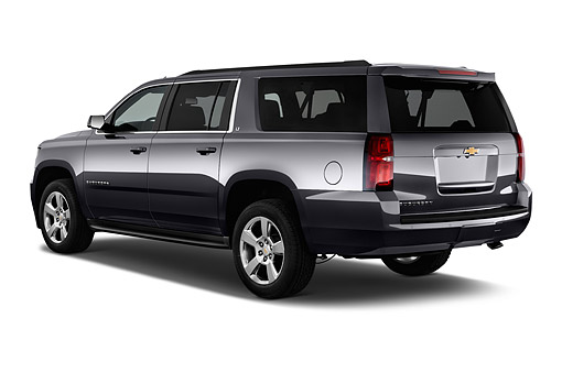 AUT 51 IZ2598 01 © Kimball Stock 2015 Chevrolet Suburban 2WD 1500 LT 5-Door SUV 3/4 Rear View In Studio