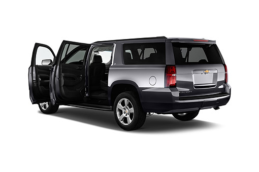 AUT 51 IZ2599 01 © Kimball Stock 2015 Chevrolet Suburban 2WD 1500 LT 5-Door SUV 3/4 Rear View In Studio