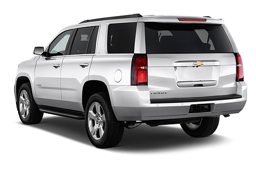 AUT 51 IZ2605 01 © Kimball Stock 2015 Chevrolet Tahoe 2WD LT 5-Door SUV 3/4 Rear View In Studio