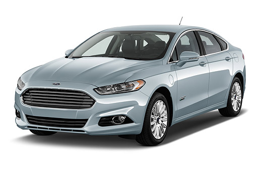 AUT 51 IZ2639 01 © Kimball Stock 2015 Ford Fusion Energi Plug-In Hybrid Titanium 4-Door Sedan 3/4 Front View In Studio