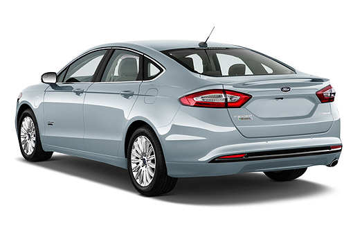 AUT 51 IZ2640 01 © Kimball Stock 2015 Ford Fusion Energi Plug-In Hybrid Titanium 4-Door Sedan 3/4 Rear View In Studio